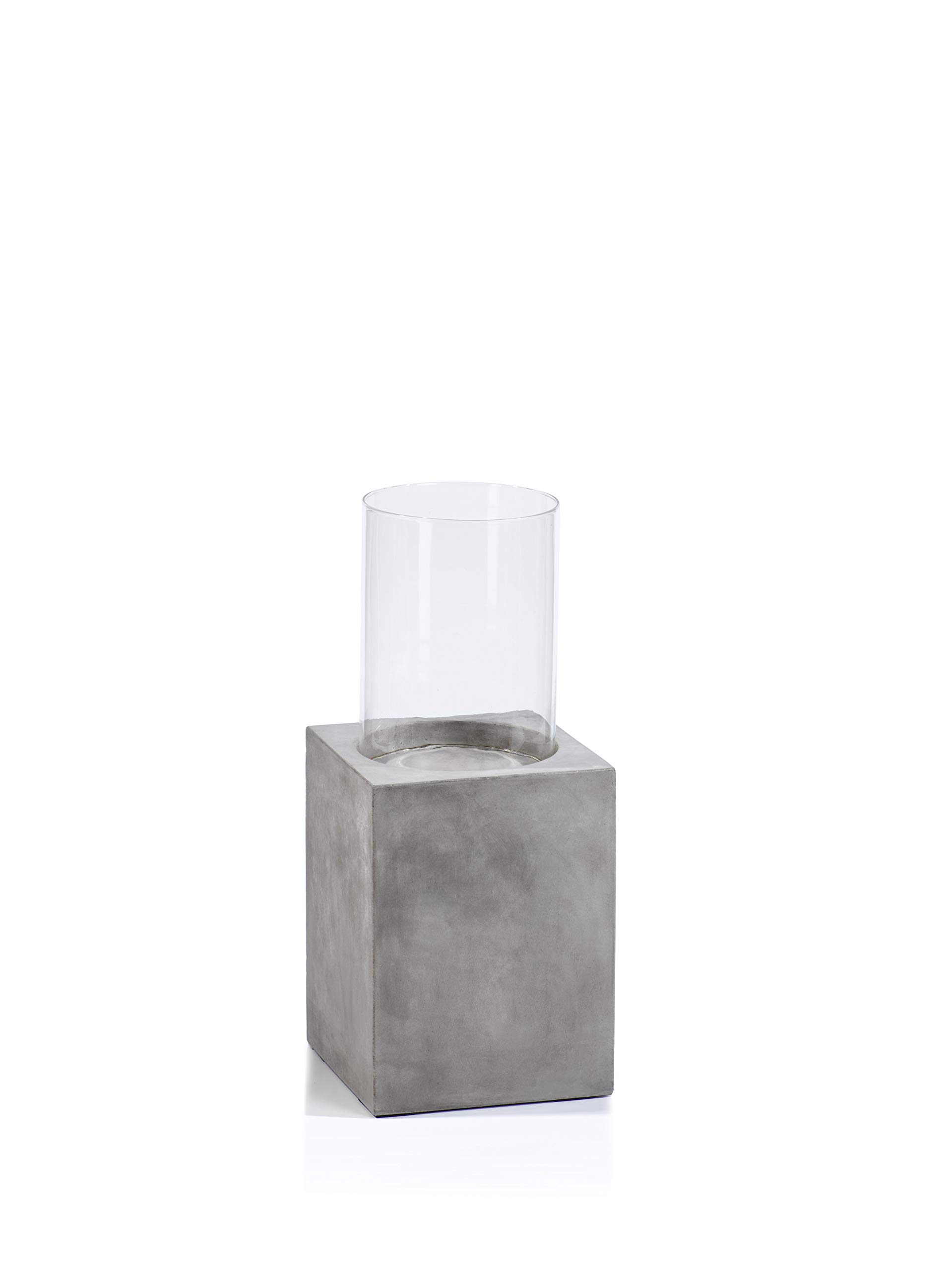 Zodax Pietro Concrete Column w/Glass Hurricane-23.75 Hurricane, Taupe