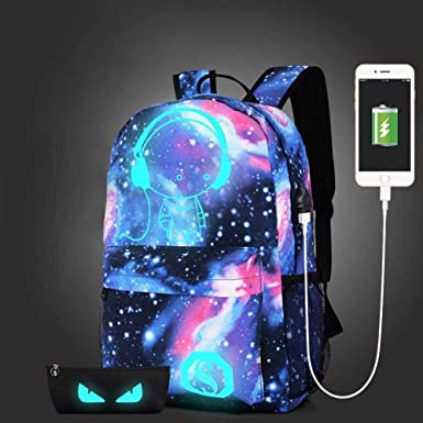 INLAR Galaxy Pattern Backpack School Bag Noctilucent Music Backpack Collection USB Charger for Girl Women Large