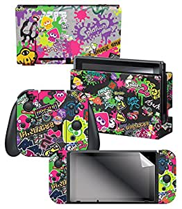 """Controller Gear Nintendo Switch Skin & Screen Protector Set, Officially Licensed By Nintendo - Splatoon 2 """"Stick Em' Up"""" - Nintendo Switch"""
