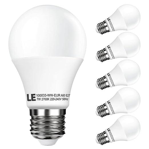 LE Bombilla LED, A60, E27, 7W=incandescentes 40W, 490lm, Blanca