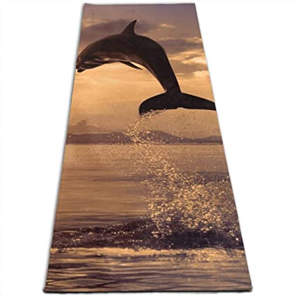 Amazon.com: Yoga Mat Non Slip Dolphin Jumping 24 X 71 Inches ...