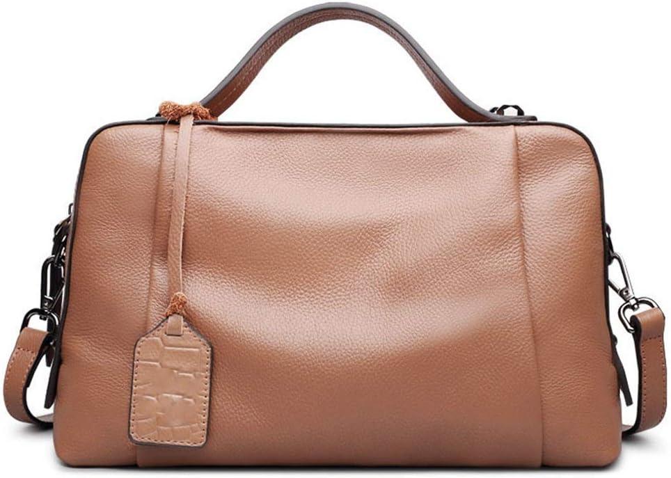 婦人用バッグ シンプルな女性のハンドバッグトップレイヤーレザーライチパターン大容量ピローバッグショルダー斜めパッケージ (色 : 褐色)