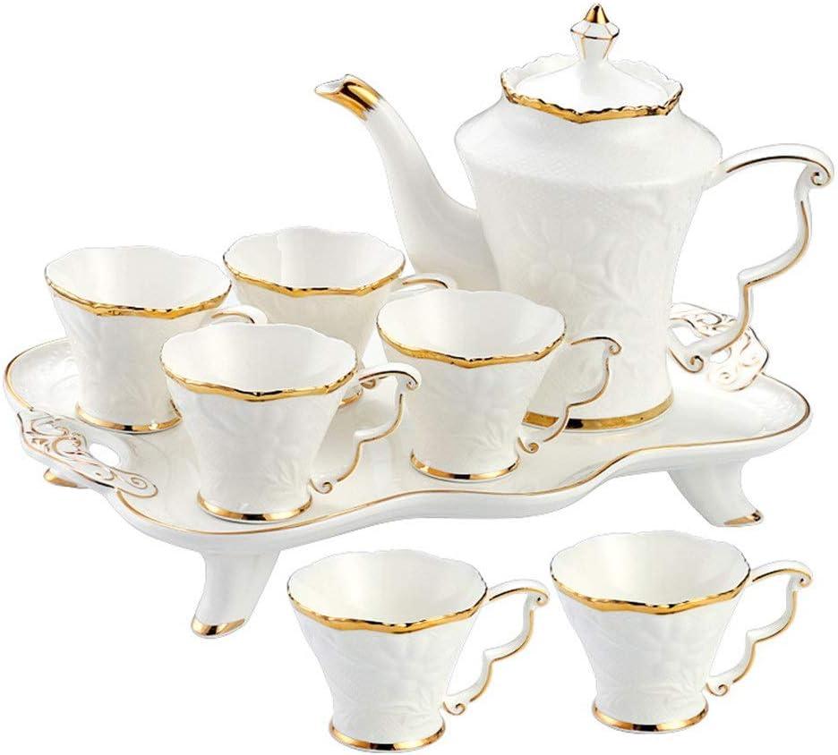 陶器 ティーセット 紅茶・コーヒーセット 8ピース艶出し磁器コーヒーとティーサービス、6ピースカップとコーヒートレイゴールドトリムヨーロピアンスタイルアフタヌーンティードリンクウェアコーヒーセットパーティーとディナー ティーセット (色 : 白, サイズ : Set of 8)