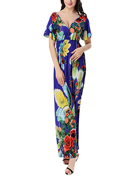 Mujer Otoño Vestido Maxi Vestido Talla Grande Vintage Moda Lindo Chic Floreadas Vestido Boho Manga Corta