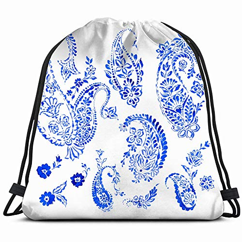 Set Beautiful Paisley Designs Stamped Ethnic The Arts Drawstring Backpack Sports Gym Bag For Women Men Children Large Size With Zipper And Water Bottle Mesh -