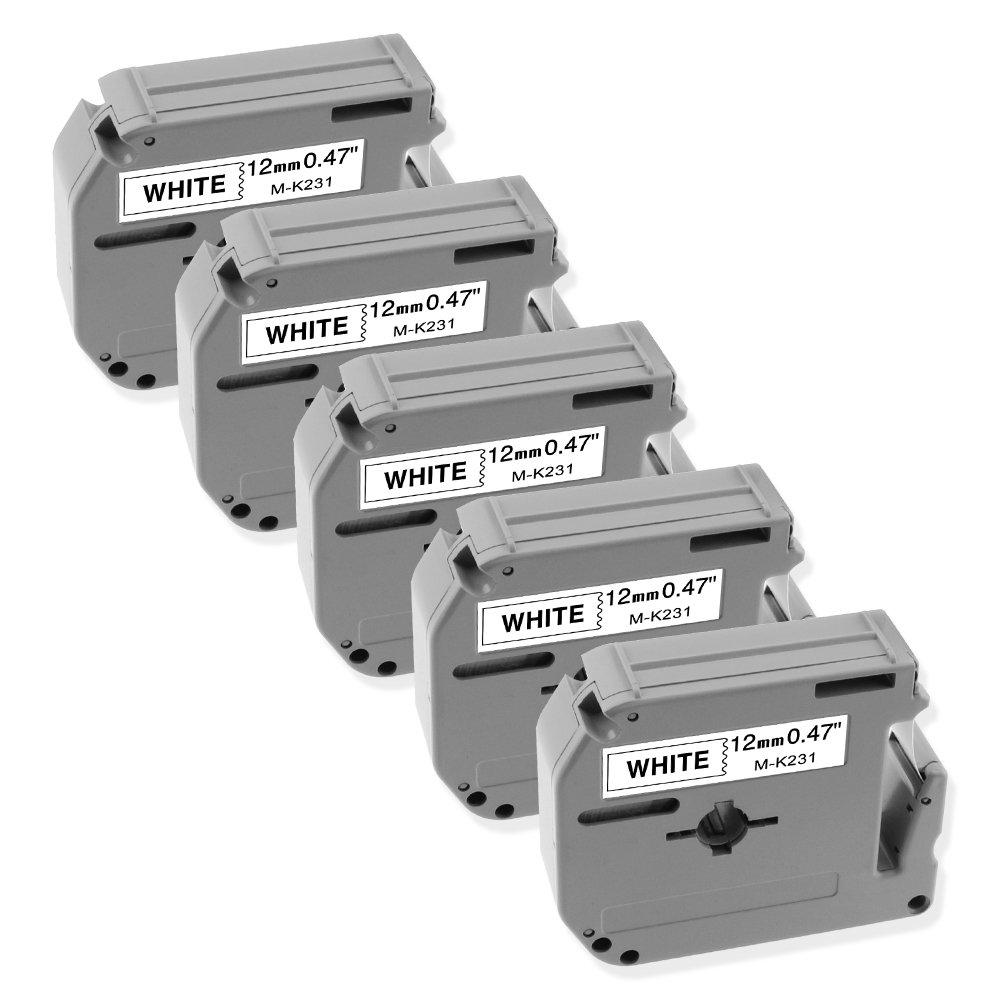 1/2 Inch M-231 MK231 Brother P-touch M Tape M231 M-K231 Label Tape Compatible for Brother P Touch PT-70BM,PT-M95,PT-90,PT-70,PT-65,PT-70SR,PT-80, 0.47 Inch x 26.2 Feet(12mm x 8m),Black on White,5-Pack
