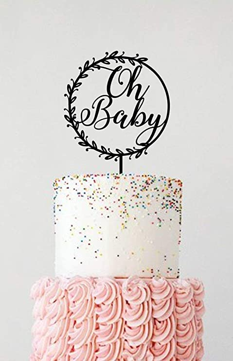 Oh Baby /& Hey Baby Wooden Baby Shower Cake Toppers