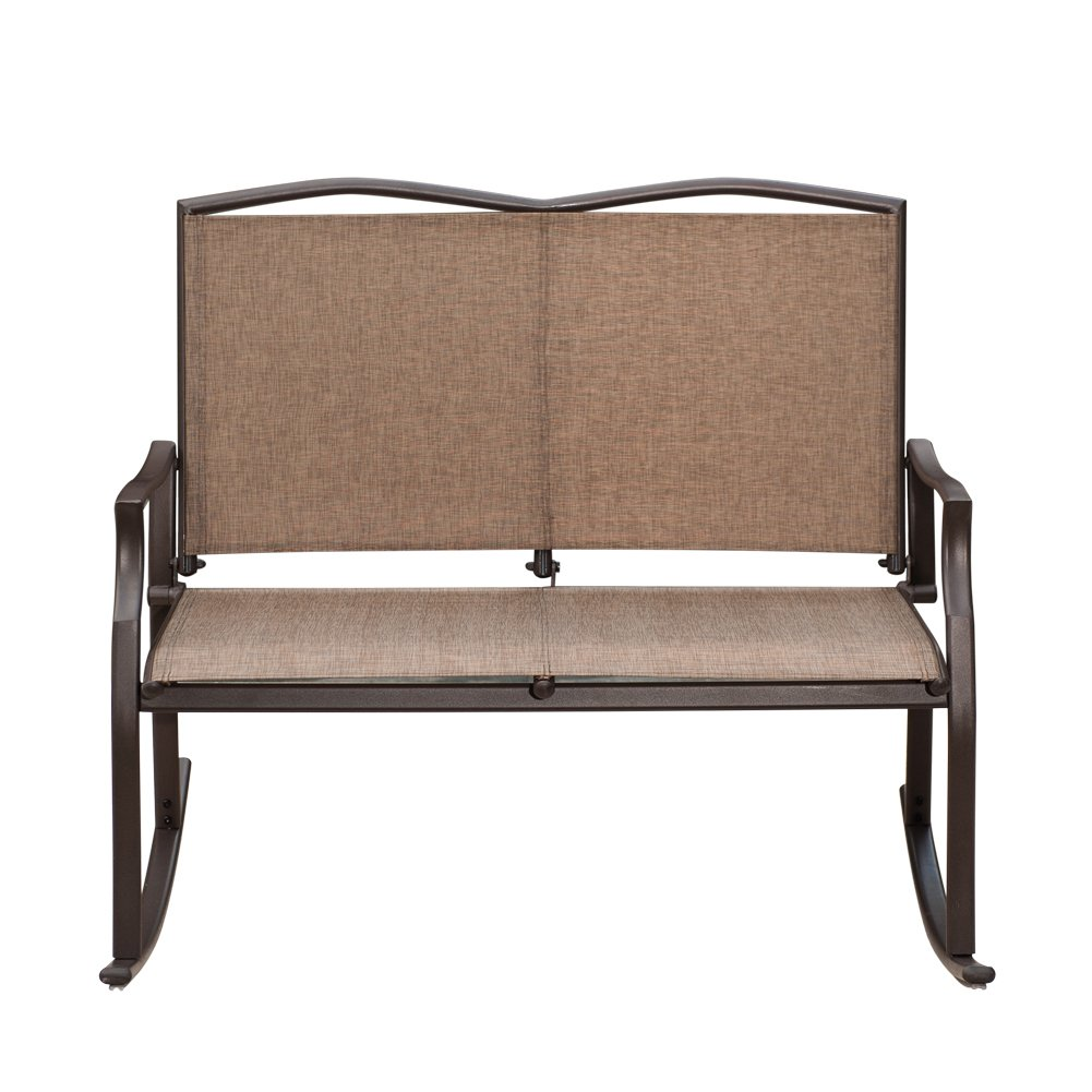 SunLife Outdoor Sling Rocking Chair Built for 2, Loveseat, Bench, Patio, Garden, Balcony, Frame Color is Bronze, Brown, Taupe Fabric Color is Khaki, Sand by SunLife