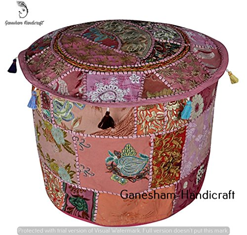 HANDMADE Christmas Decorative Bohemian Ottoman Patchwork Ottoman Indian Embroidered Floor Cushion Indian Vintage Cotton Round Pouf Foot Stool, Vintage Ottoman Bohemian Decor Seating Pouf (Cover Only) by GANESHAM