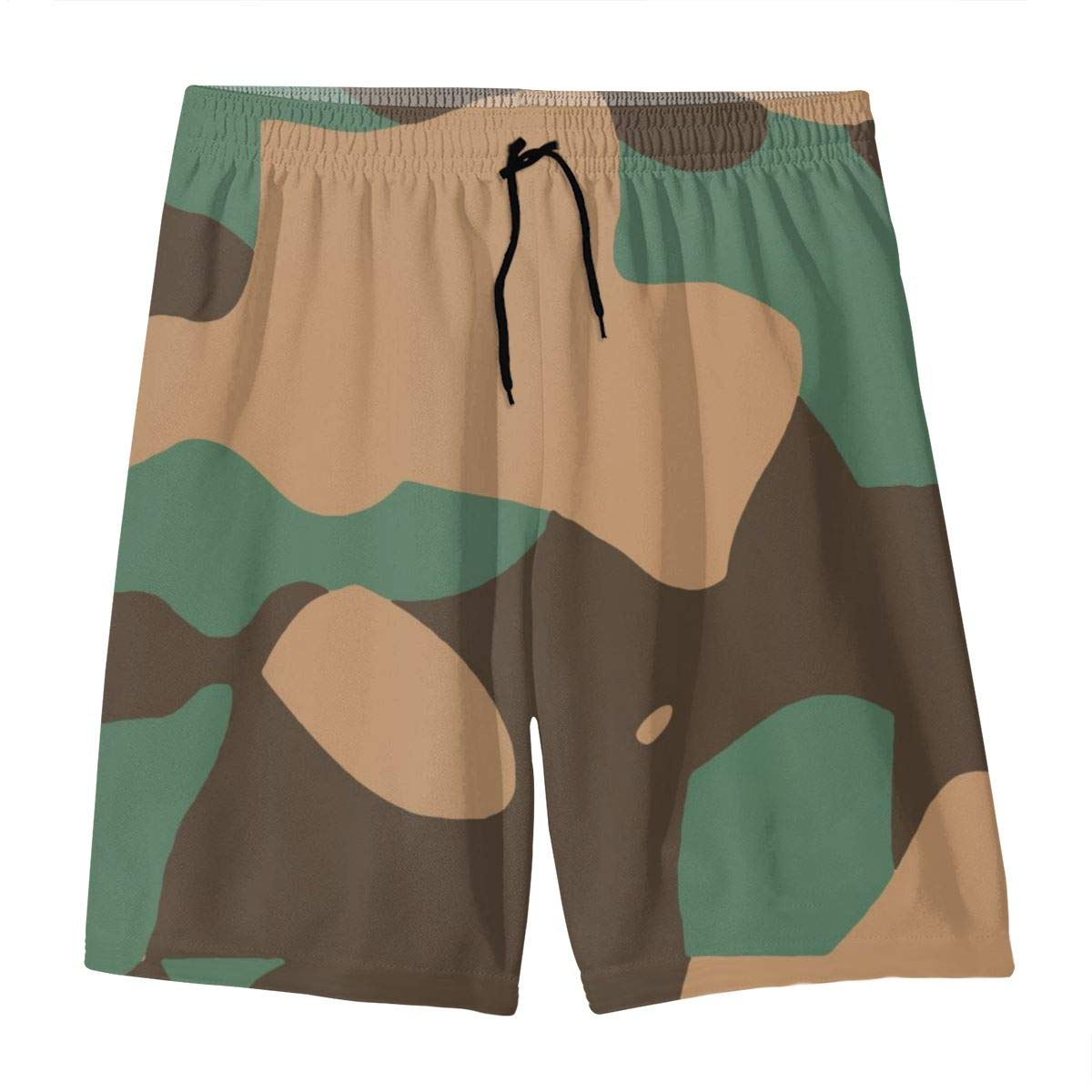 CCYT Camouflage Green Pattern Bathing Suits Teens Quick-Drying Surf Beach Pants Boardshort