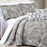Home Soft Things 5 Piece LA Boheme Quilted Printed Bed Spread, Queen, Taupe