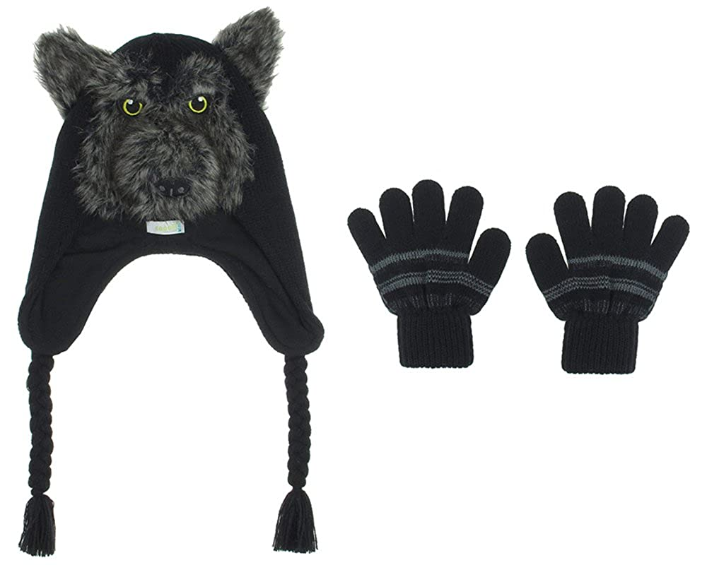 Capelli New York 2 Piece Set: Wolf Acrylic Earflap Hat With Ears & Magic Gloves BK-6307