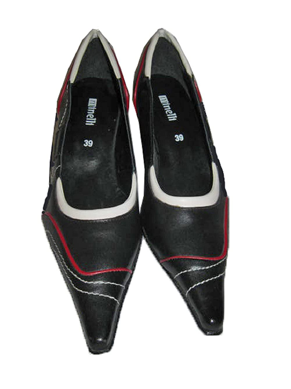 Made in ITALY Genuine LEATHER Low-Heel Pump Size 39 MINELLI of ITALY Black