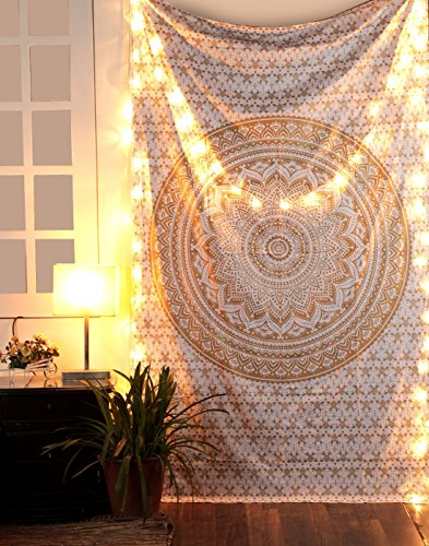 Handmade Original Gold Printed Mandala Tapestry Boho Wall Hanging Gypsy Bedsheet Table Runner Hippie Buddhist Tapestries Bohemian Bedspread Hippy Bedd…