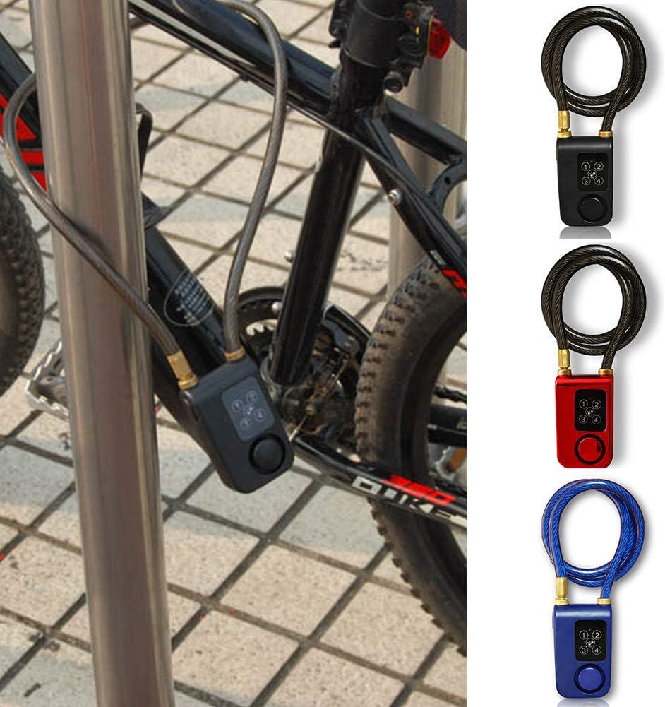 110dB allarme impermeabile porta blocco di sicurezza per bicicletta moto, 4/digitale password Smart Lock lucchetto antifurto allarme KEYLESS Smart Red Taglia libera lunghezza catena 80/cm catena