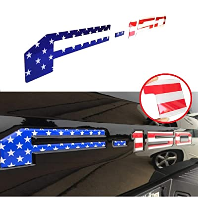 Tailgate Insert Letters for Ford F150 2020 2020 2020-3M Adhesive & 3D Raised Tailgate Decal Letters (American Flag): Automotive