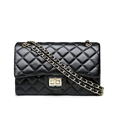 1db7b11dcf5 Volcanic Rock Women's Quilted Crossbody Girl Side Wallet And Shoulder Bag  Clutch Chain (Black)