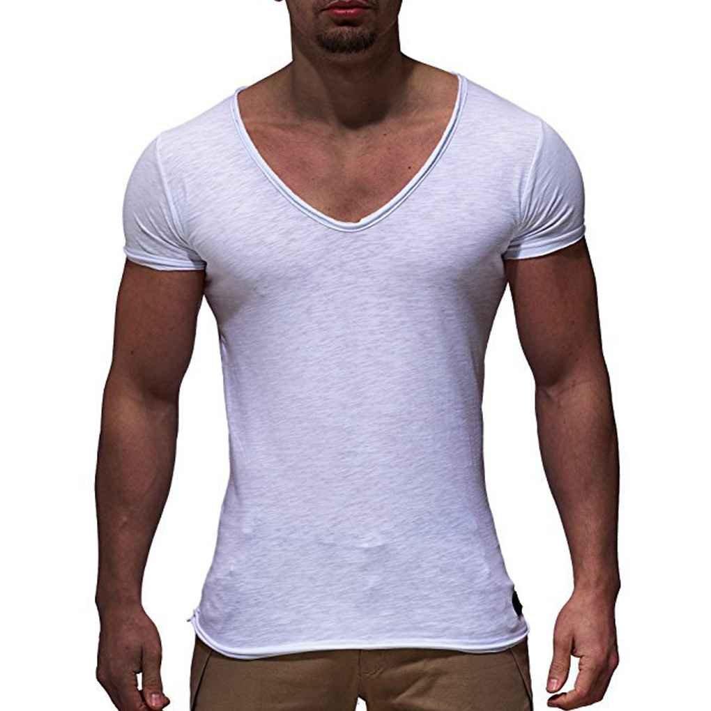 Luckiests V-Ausschnitt M/änner Sommer-beil/äufigen Sport-T-Shirts Modell atmungsaktiv Fitness Laufen mit kurzen /Ärmeln Street Top