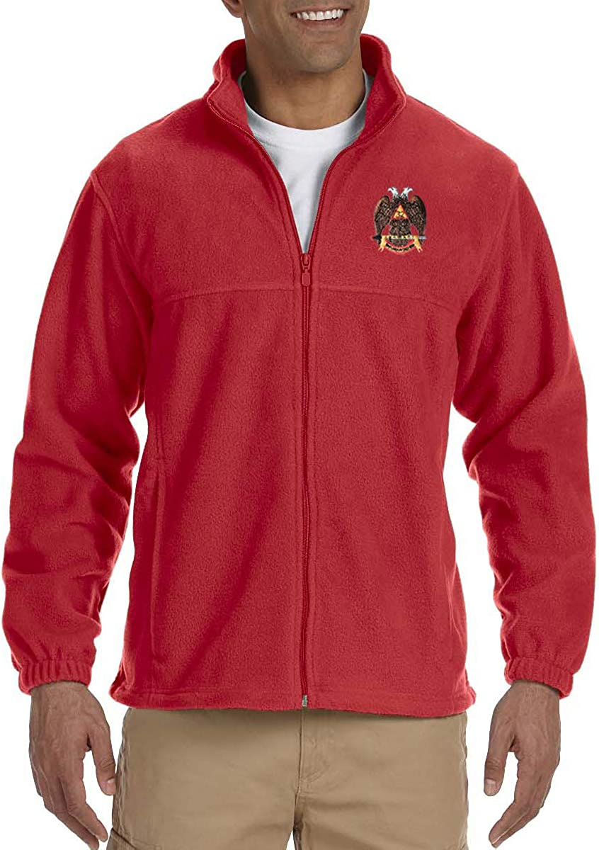 32nd Degree Scottish Rite Embroidered Masonic Mens Fleece Full-Zip Jacket