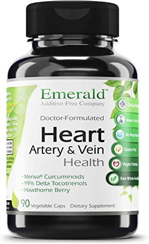 Heart, Artery Vein Health – with Hawthorn Berry Meriva Phytosome – High Absorption, Supports Cardiovascular Health, Helps Regulate Blood Pressure – Emerald Labs – 90 Vegetable Capsules