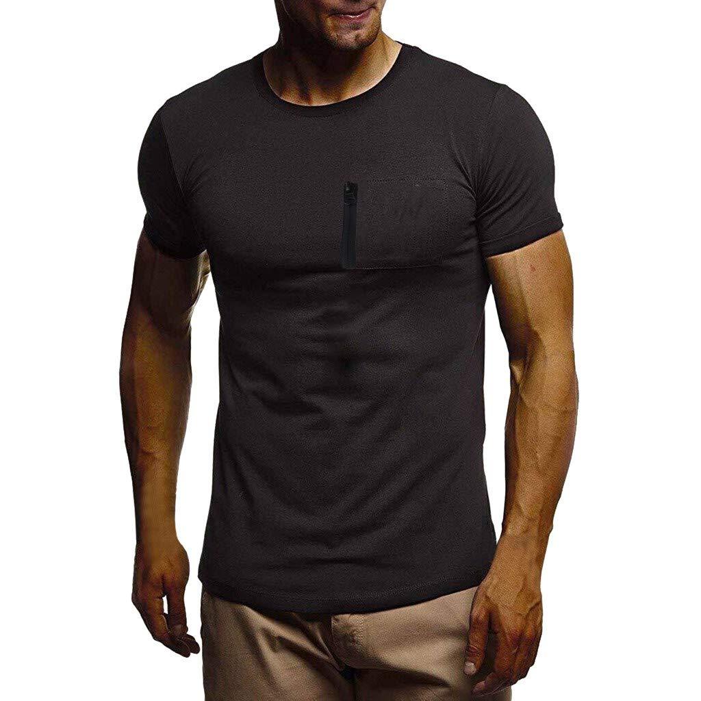Winsummer Tee Men's Pocket Crew-Neck T-Shirt Short-Sleeve Pure Color Lightweight Work Wear Tshirt Tops Black