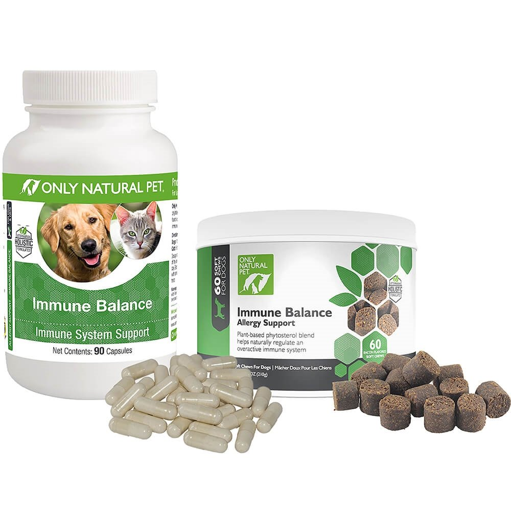Only Natural Pet Immune Balance for Immune Support - Holistic Vitamin Dietary Supplement Formula for Dogs or Cats - 90 Capsules