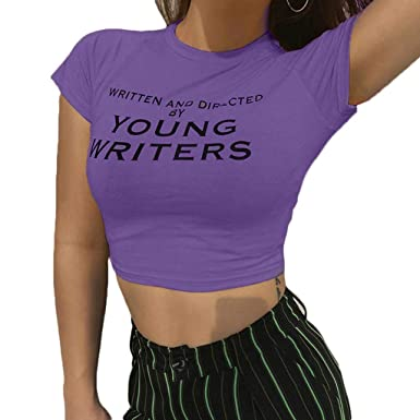 6916c8ed32eb Crop Top for Women Short Sleeve Basic Bodycon Crew Neck Letter Print Slim  Fit T-