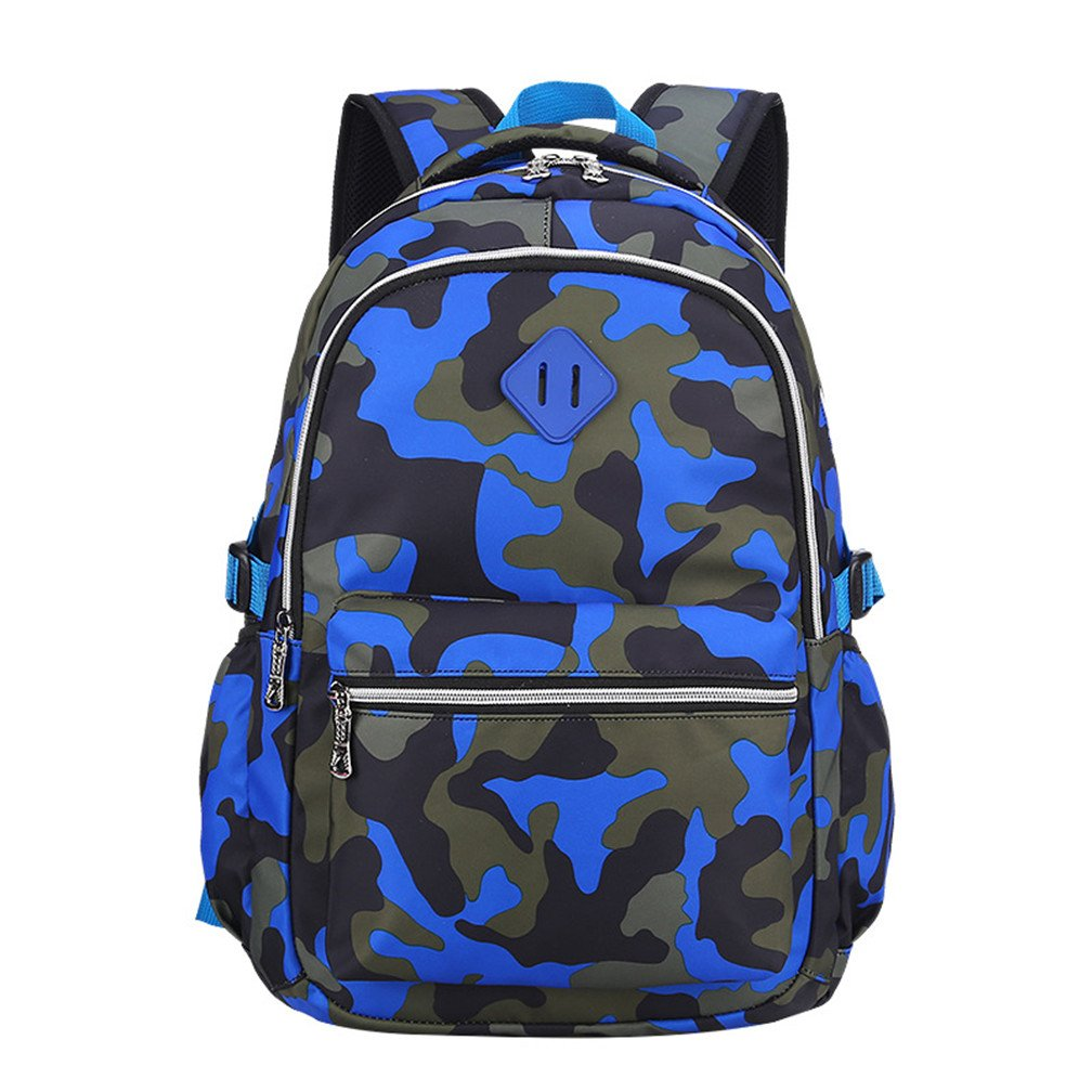 Macbag School Backpack Bookbag Durable Camping Backpack for Boys and Girls (Camouflage Blue 2)