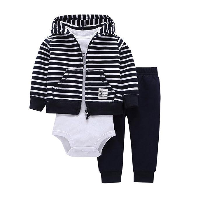 d1480c909014 3pcs Baby Boy Clothes Stripe Hoodie Jacket Long Sleeve Bodysuit Pants Clothing  Infant Autumn Winter Set