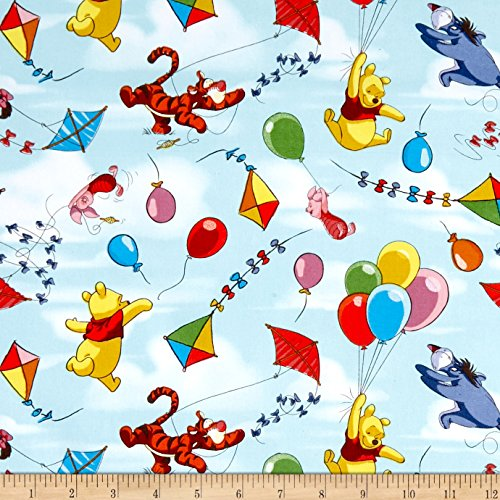- Springs Creative Products Disney Pooh Balloon Friends Blue Fabric by The Yard
