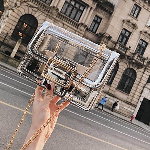 women's leisure fashion bag broadband all 2018 silvery transparent Zazero new match EgqwU4Ix