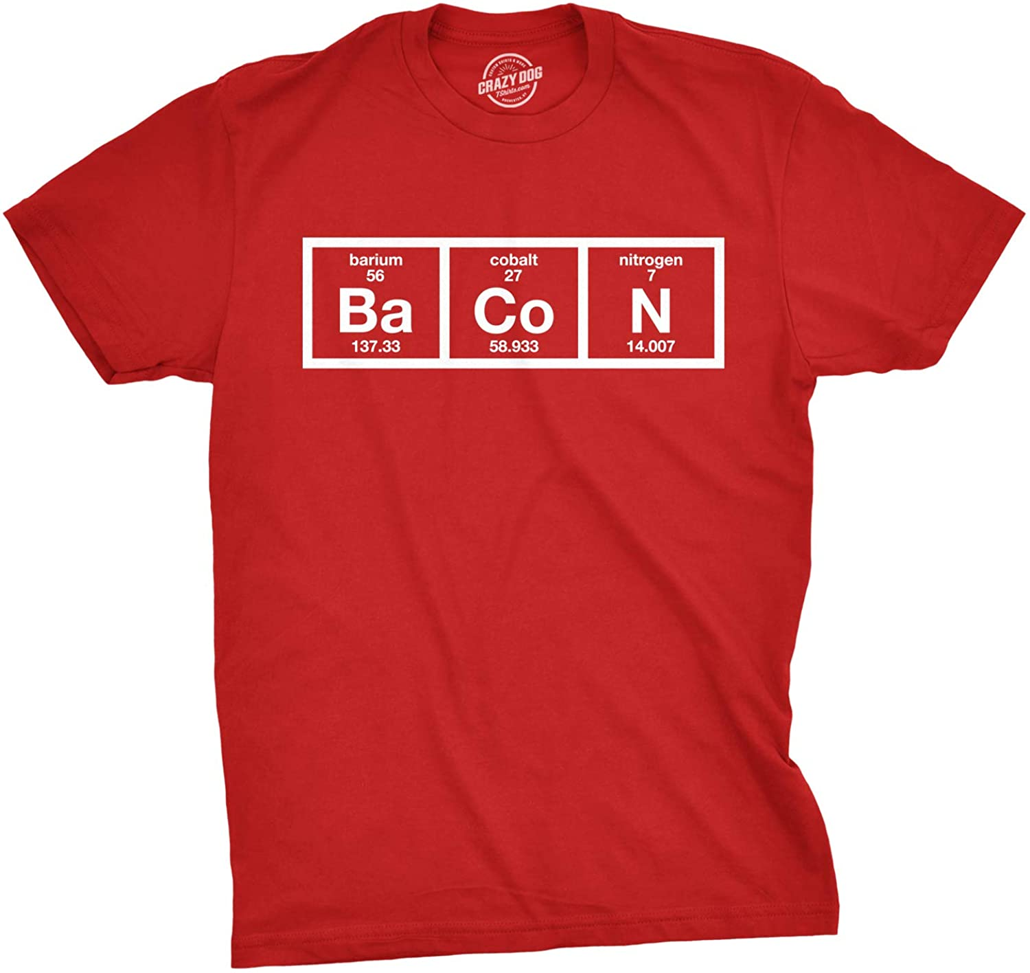 Mens The Chemistry of Bacon T Shirt Funny Nerdy Graphic Periodic Table Science