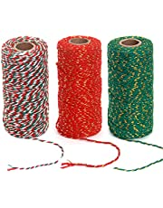 Ewparts 3 Roll Wrapping Gift Cotton Rope Ribbon Twine Rope Cord String, 984 Feet