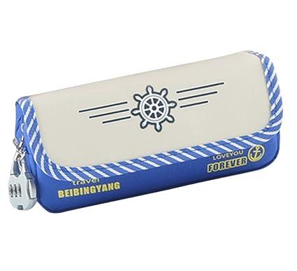 kingseven lienzo Estudiante pluma lápiz caso bolsa de cosméticos con bolsa de cerradura de combinación del