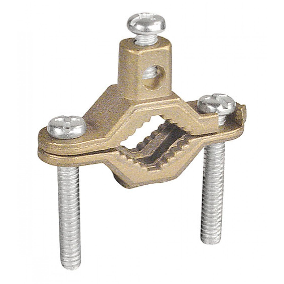 2 Pcs, Bronze Ground Clamp for Bare Wire & Pipe Size 1/2 to 1 In., Bronze Clamp w/Steel Screws to Ground Bare Copper Or Aluminum Wires to Water Pipes, Ground Rods, Rebar by Garvin