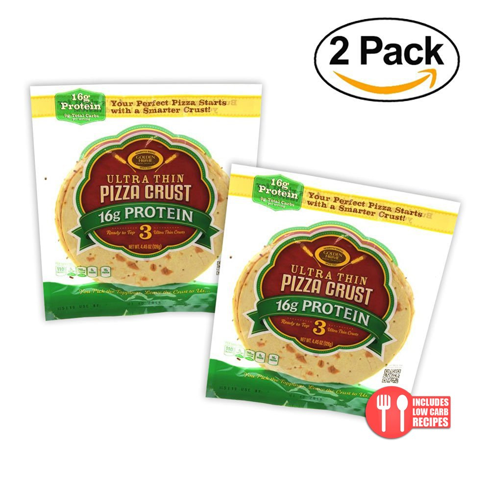 Value 2 Pack: Golden Home Ultra Thin 16g Protein Pizza Crust, 6 crusts
