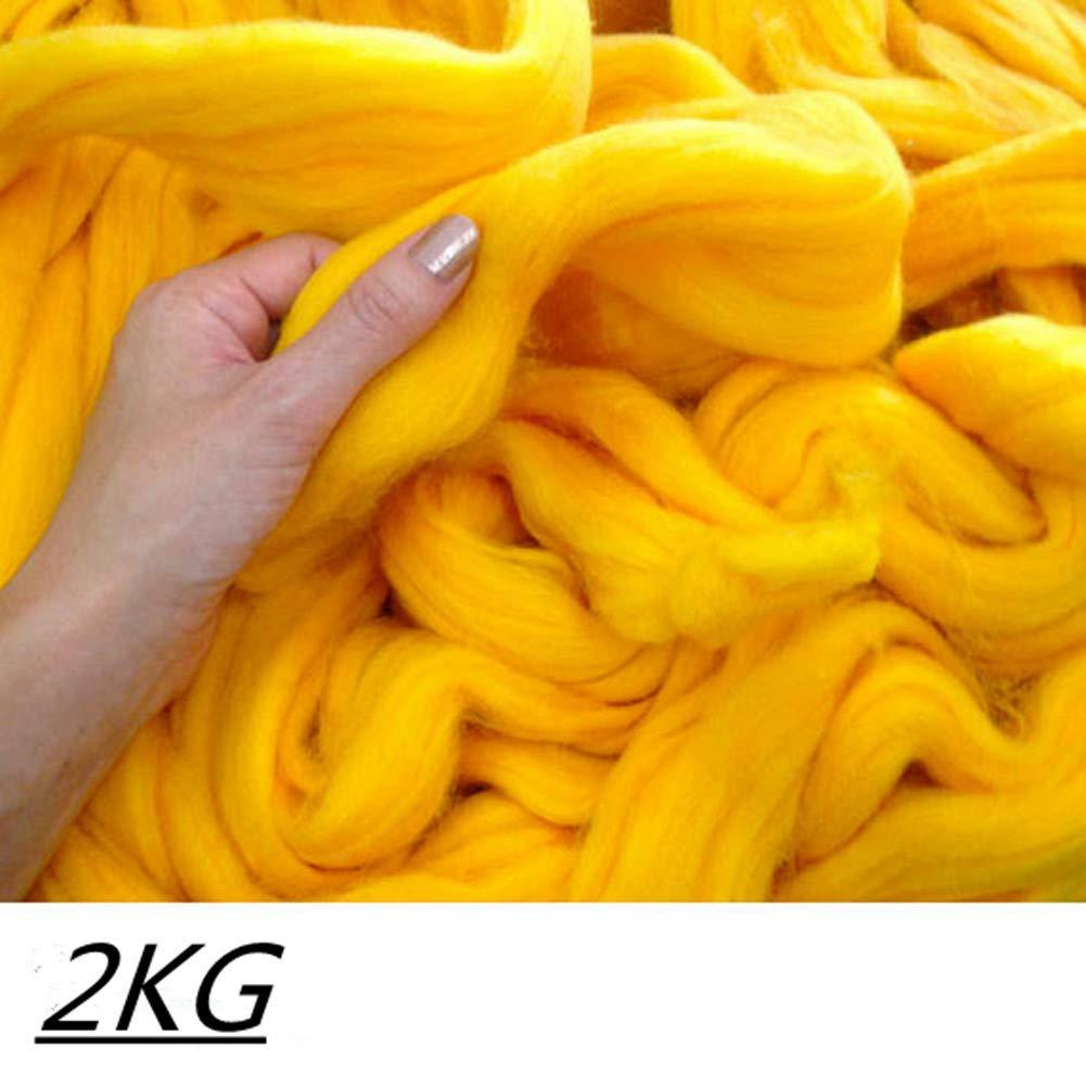 Giant Wool Yarn Chunky Arm Knitting Super Soft Wool Yarn Bulky Wool Roving (2 kg/4.4 lbs, Yellow)