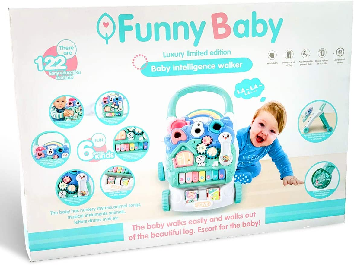 Musical Baby Walker Baby Intelligence Walker Limited Edition Kids Activity Walker First step sit and Play Music Baby songs Dog house. Piano small telephone