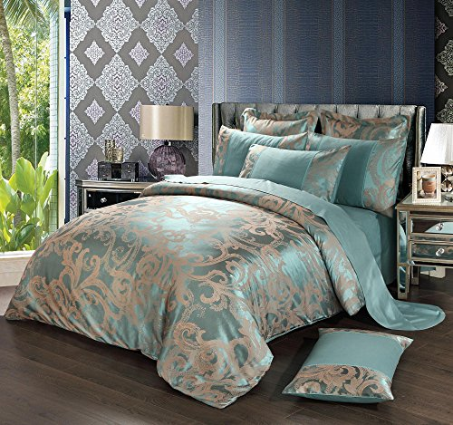 4 Piece Sateen Cotton Jacquard Duvet Cover Sets,Delicate Floral Pattern Bedding Sets,Duvet Cover Flat Sheet and 2 Pillowcases,Light Green,Full/Queen