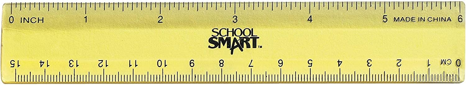 School Smart 1473613 Lightweight Strong Plastic Ruler 6 Inches, Pack of 6,High Gloss
