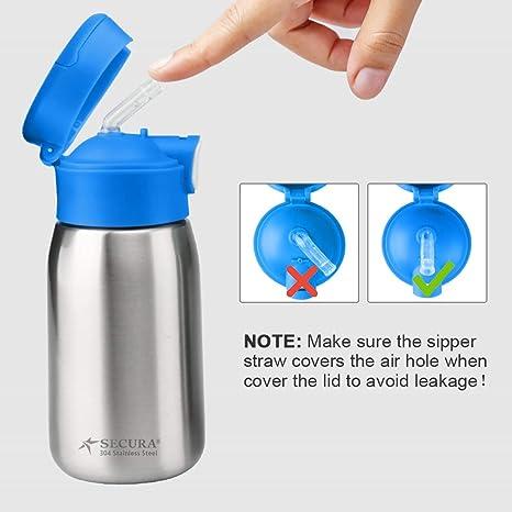 Amazon.com: Secura - Botella de agua de paja de acero ...