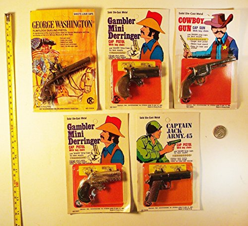 Flintlock Pistol Gun - TOP Satisfied Set of 5 Vintage 1970's Miniature Die Cast Cap Gun Pistols - Hong Kong
