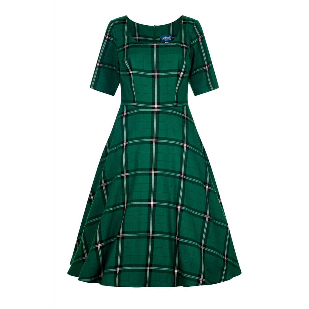 0a042481e235 Collectif Vintage Women s Amber Evergreen Print Swing Dress  Amazon.co.uk   Clothing