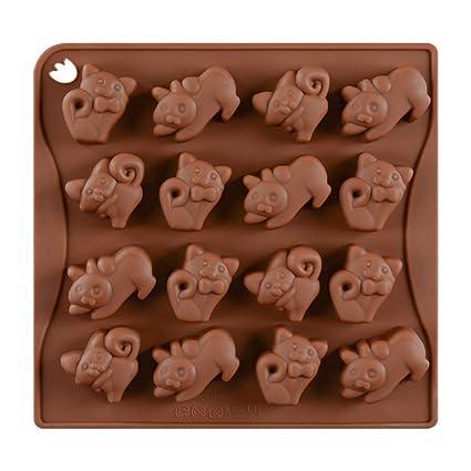 BESTONZON 16 Moldes de silicona para chocolate con forma de gato moldes de silicona para dulces