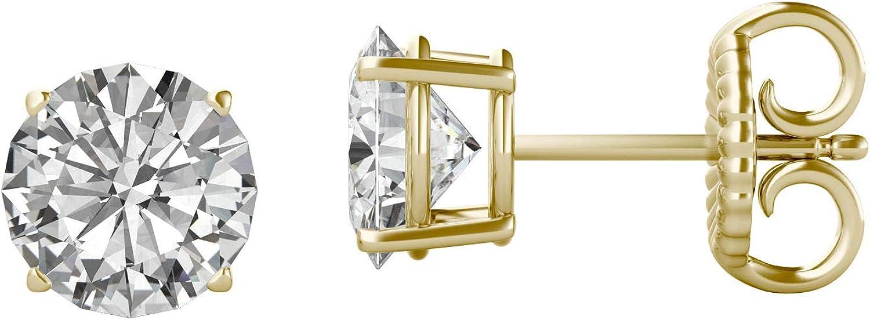 Charles & Colvard Forever One par de pendientes de botón - Oro 14K - Moissanita de talla redonda