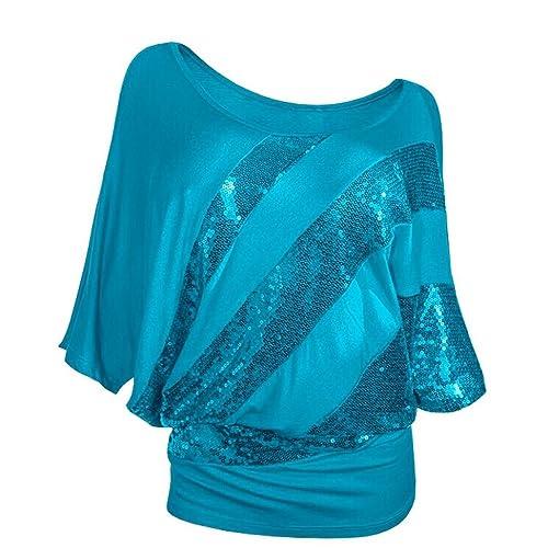 Ladies Kurzarm Rosennie Damen Mode Sexy Rundhals Pailletten Fledermaus T- Shirt Frauen Casual Tunika Top 0f54295000