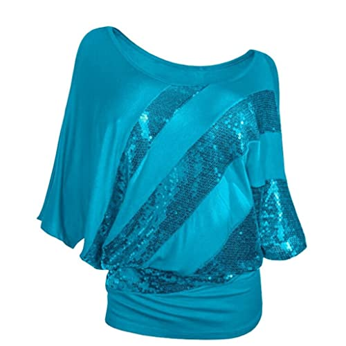 Ladies Kurzarm Rosennie Damen Mode Sexy Rundhals Pailletten Fledermaus T-Shirt  Frauen Casual Tunika Top b6127d705a