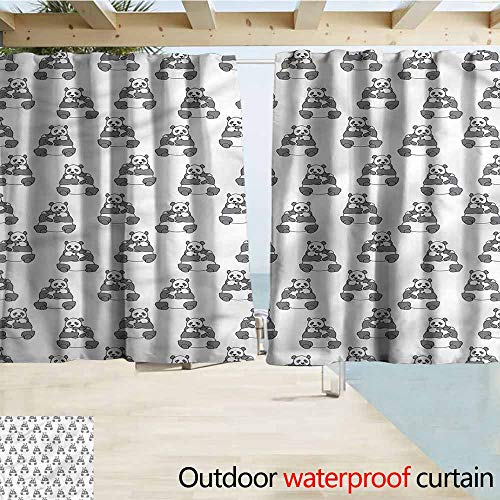 MaryMunger Outdoor Patio Curtains Panda Mama Bear with Her Cub Love Rod Pocket Curtain Panels W72x72L Inches