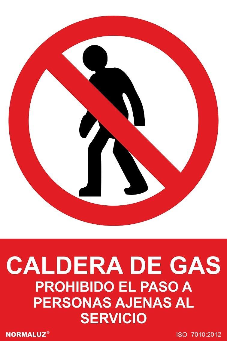 NM RD46618 - Señal Adhesiva Caldera De Gas Prohibido El Paso A Personas Ajenas Al Servicio Adhesivo de Vinilo 10x15 cm