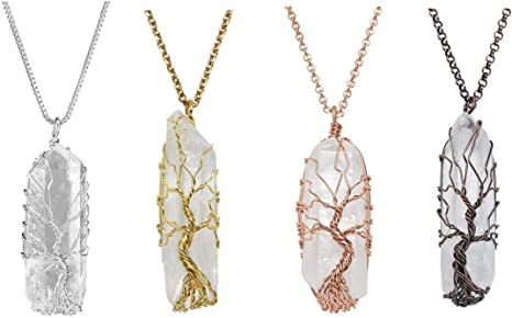 Crystal Quartz Natural Gemstone Healing Tree of Life Pendant Necklace Chain
